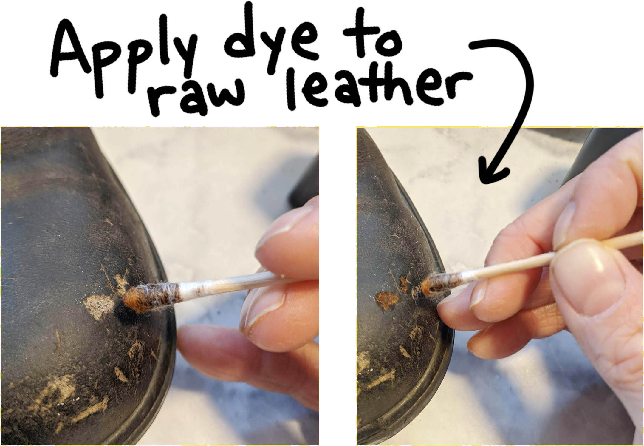 to repair gouges and deep scratches it's important to find the dye that will match the finish of the leather on your boot