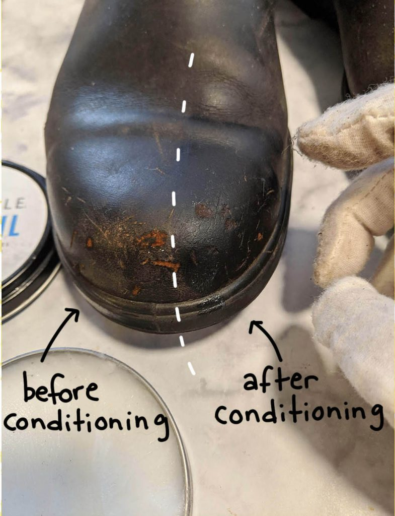 before conditioning, warm up your boots a bit by a heater in order to help the conditioner soak in