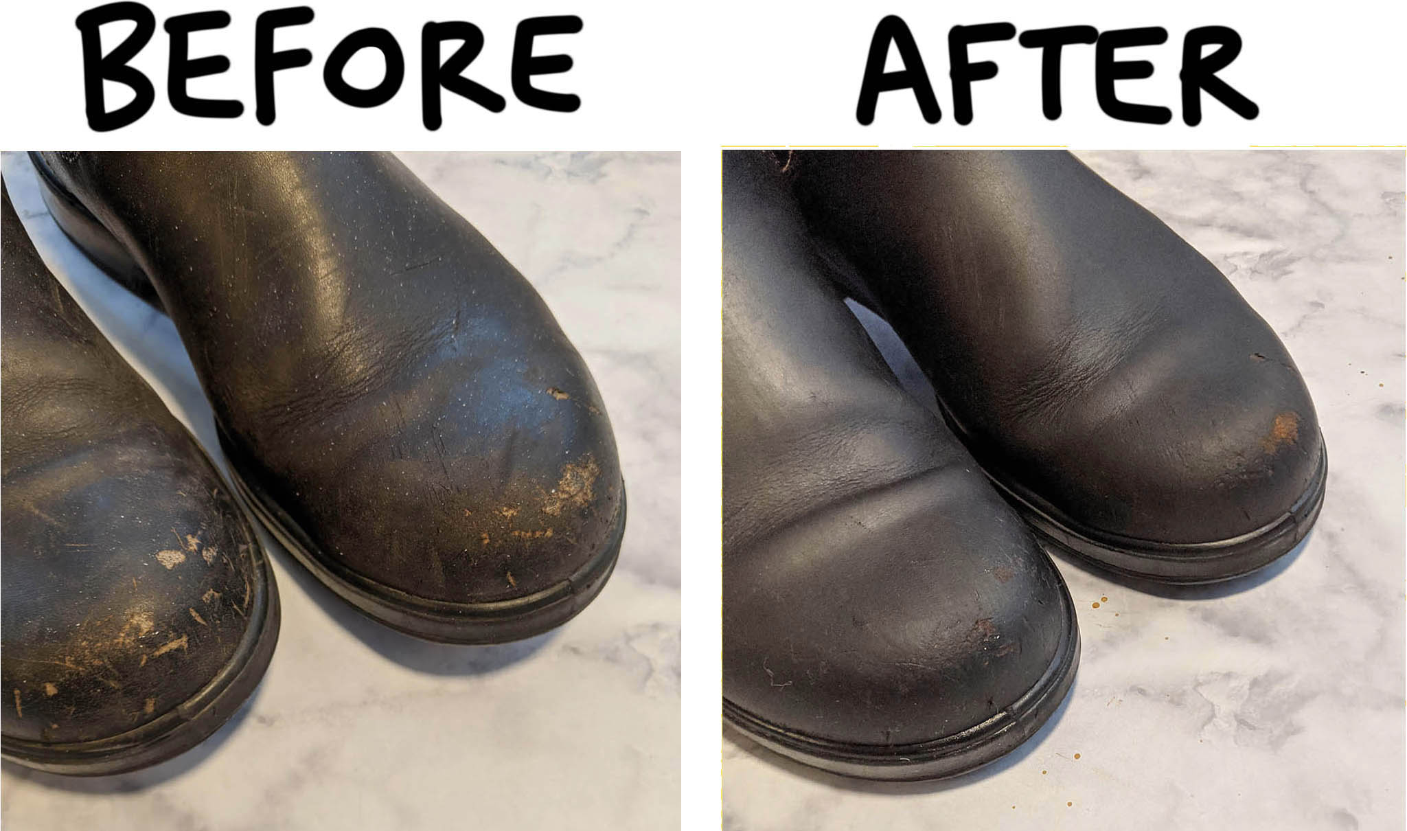 it takes a few steps to take blundstone boots from grimy and dry to clean and conditioned