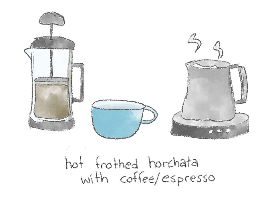 A hand drawn illustration of a horchata latte being prepared.