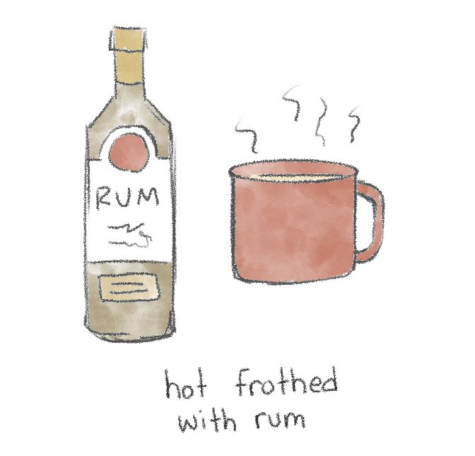 Image of a warm mug of hot horchata and a bottle of spirits.