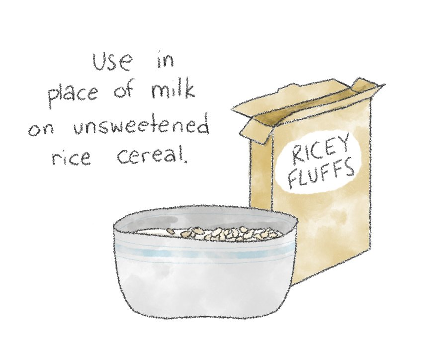 A hand drawn illustration of horchata being used in place of milk on breakfast cereal.