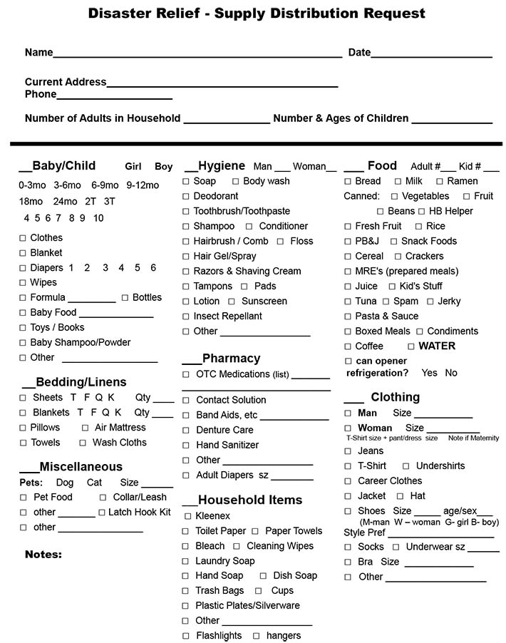 Disaster Relief - Supply Distribution Request Form