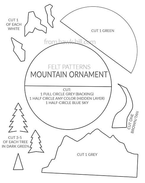 Mountain Themed PNW Christmas Ornament - Felt Pattern