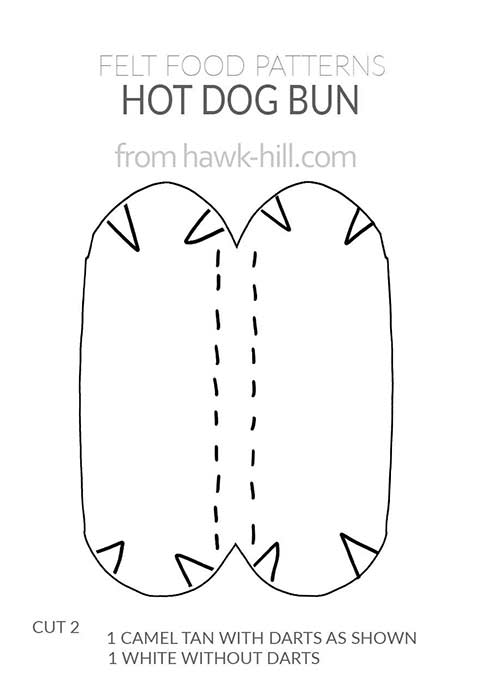 download a free pattern for how to make a hotdog bun using felt