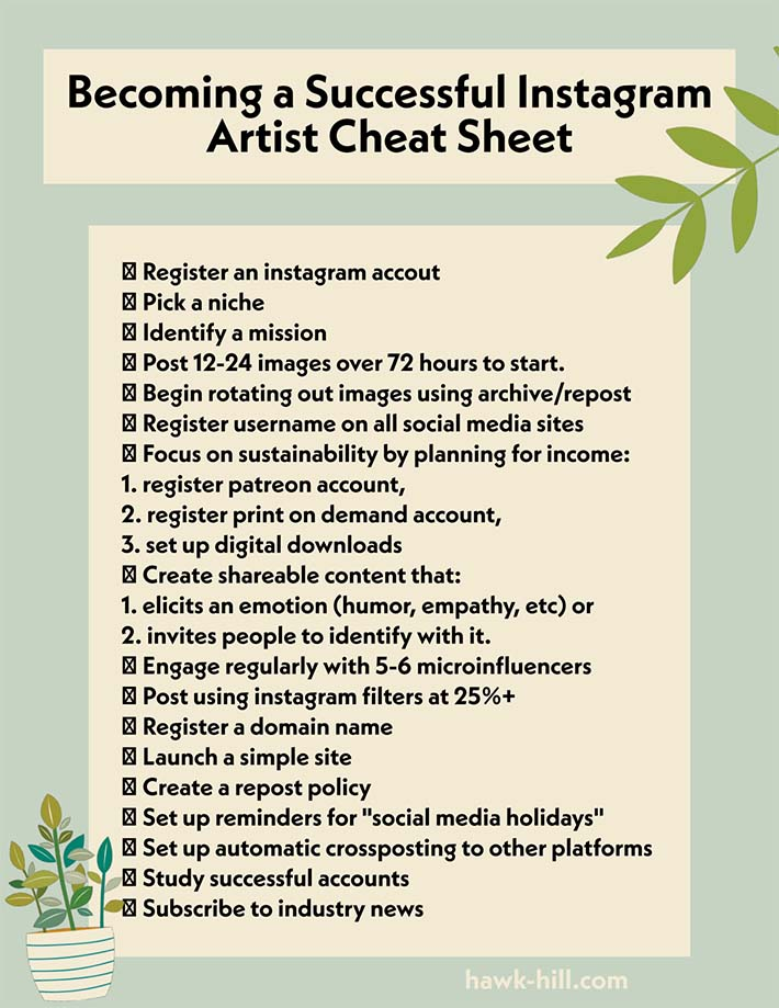 Checklist for Growing your Artist Instagram Account