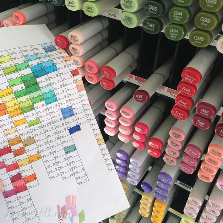 copic markers in a rainbow of colors