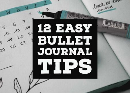 12 easy bullet journal tips header on background of journal layout