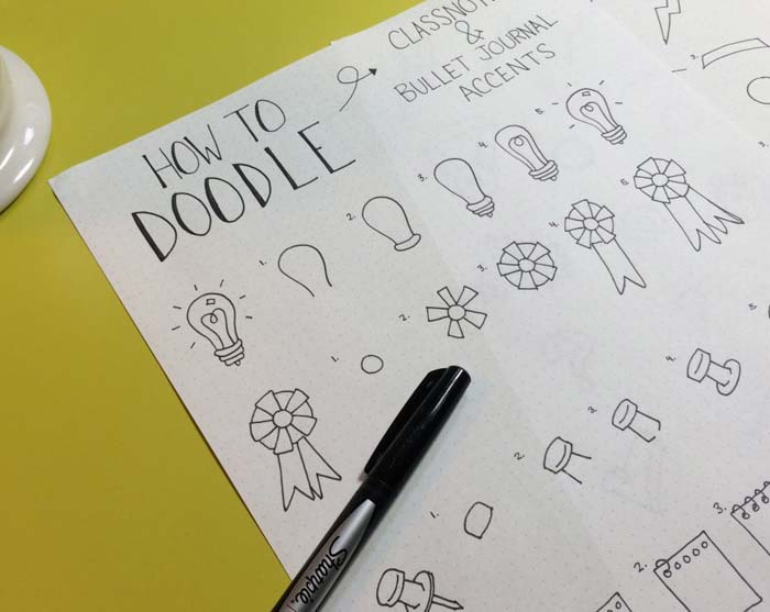 how to doodle bullet journal accents