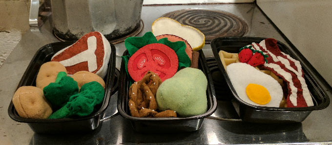 My first project making felt food was these three meals