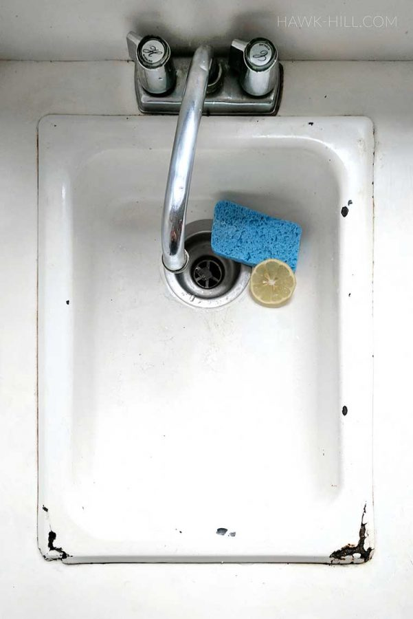 Before: DIY rusty sink repair and patch