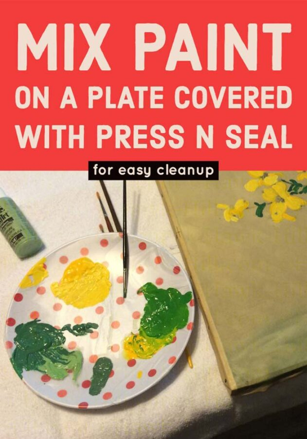 covering a plate is an easy to to make an easy to clean paint palette