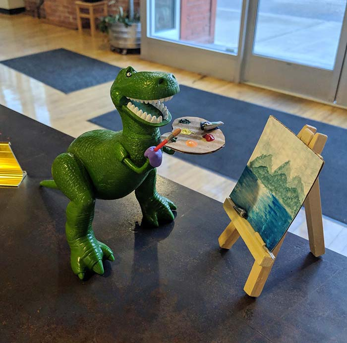 Acrylic paint is easy for even beginners to use, like this dinosaur who attends my paint parties.