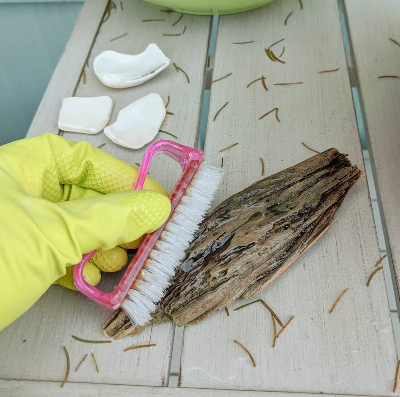 Scrubbing can remove debris that is embedded in the wood