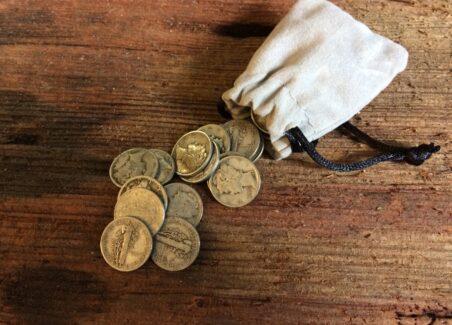 coins in a coinpurse