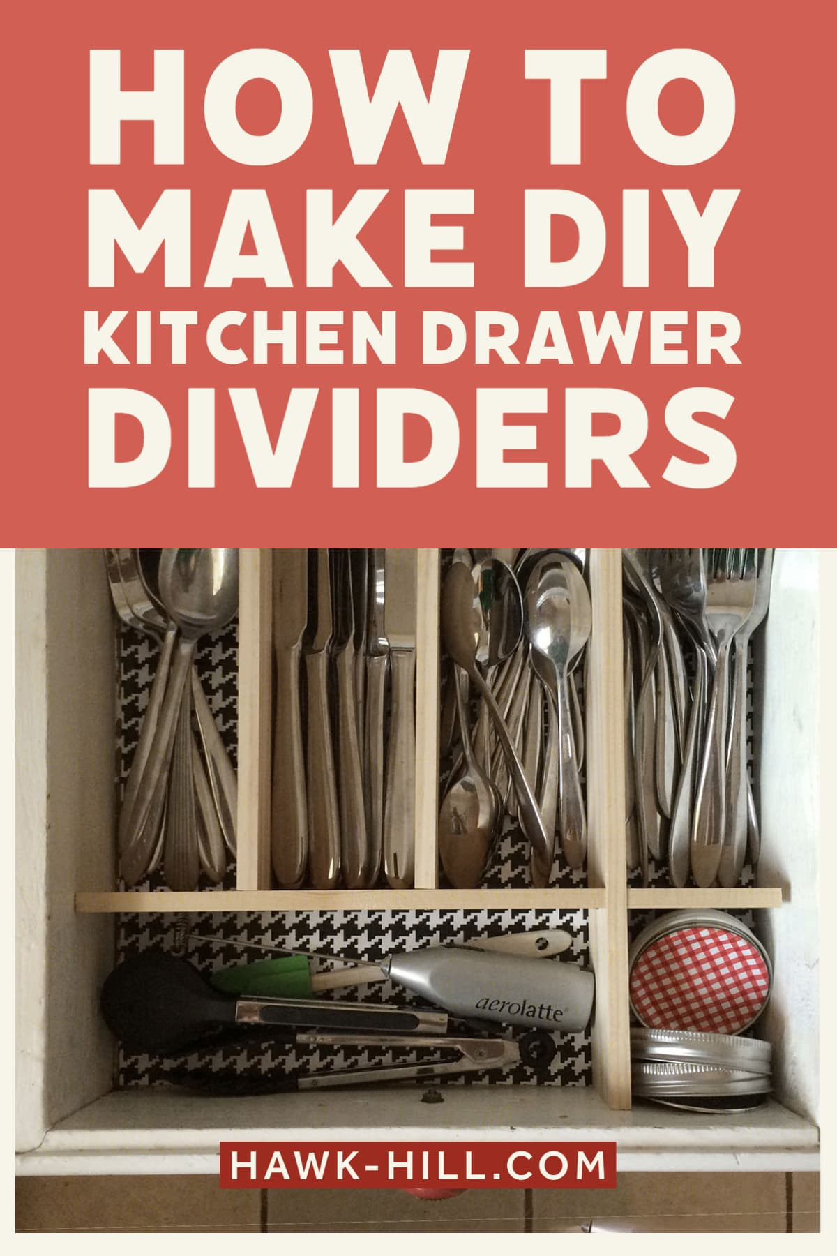 How to make your own custom wood drawer dividers for organizing flatware and serving utensils in a kitchen
