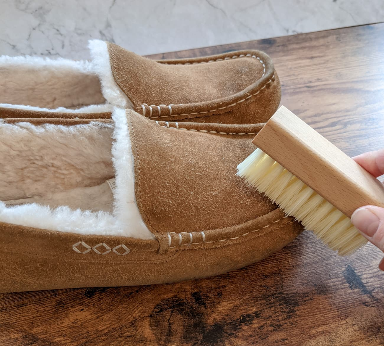 how to clean sheepskin and suede slippers