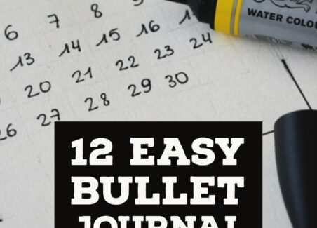 12 easy bullet journal tips header on background of journal layout