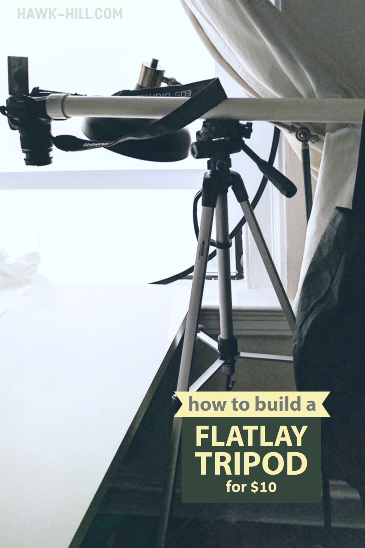 How to make a flaylay tripod for style, fashion, food, or craft photography in flat lay overhead shot style
