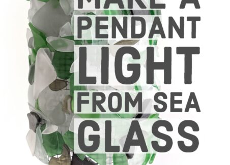 How to make a DIY pendant light with a sea glass hurricane style sleeve