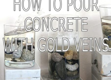 Poruing concrete with gold veins for art