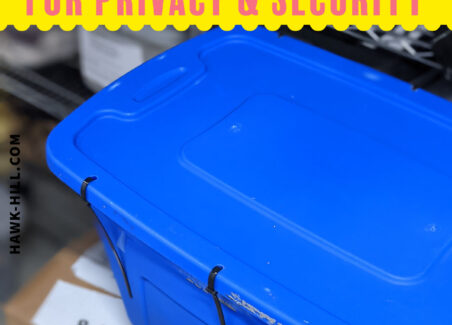 A blue storage tote with heavy duty zip ties sealing the container shut overlayed with text: how to lock a storage tote for privacy and security.