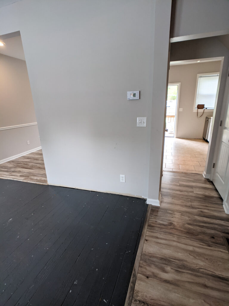 The cottage had 4 transitions between floor types on one level.