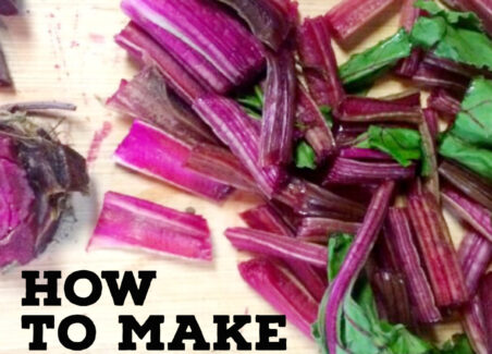 Bright purple beets cut and ready to be made into fabric dye.