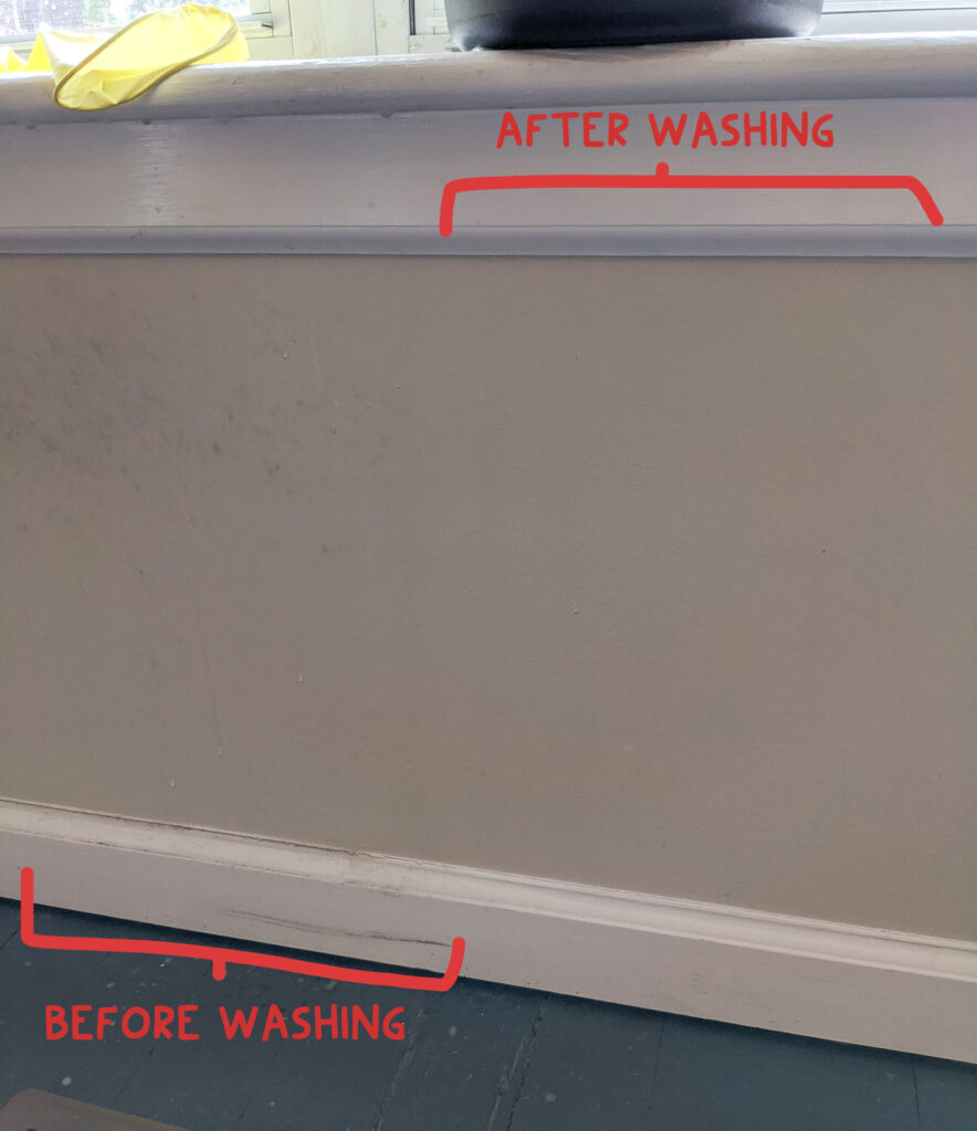 before and after wall washing
