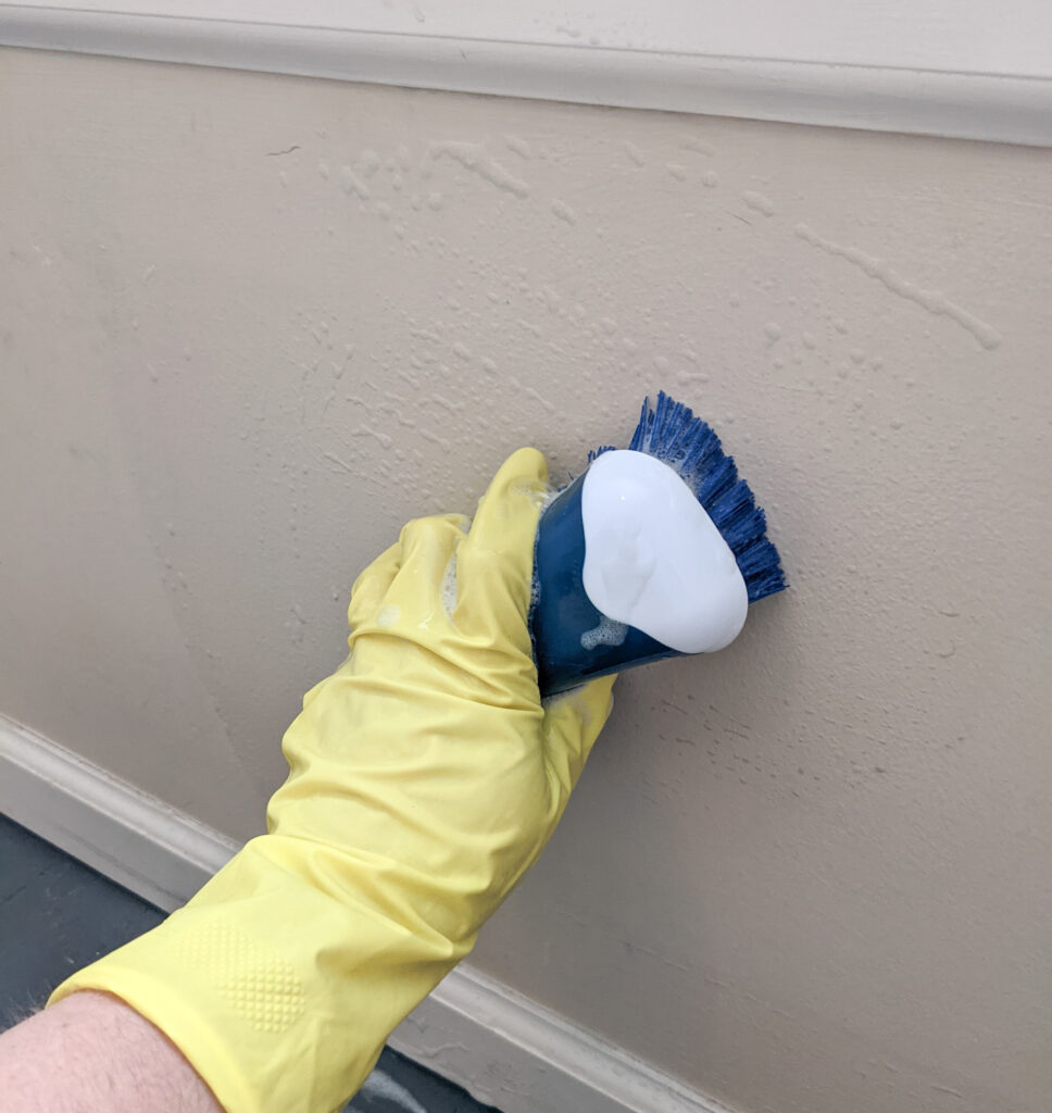 closeup of a wall being scrubbed.