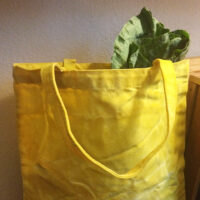 yellow waterproof bag with greens spilling out.