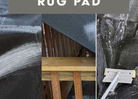 Image of a ruggable rug pad being sprayed with a garden hose with text overlay saying How I Clean my Ruggable Rug Pad.