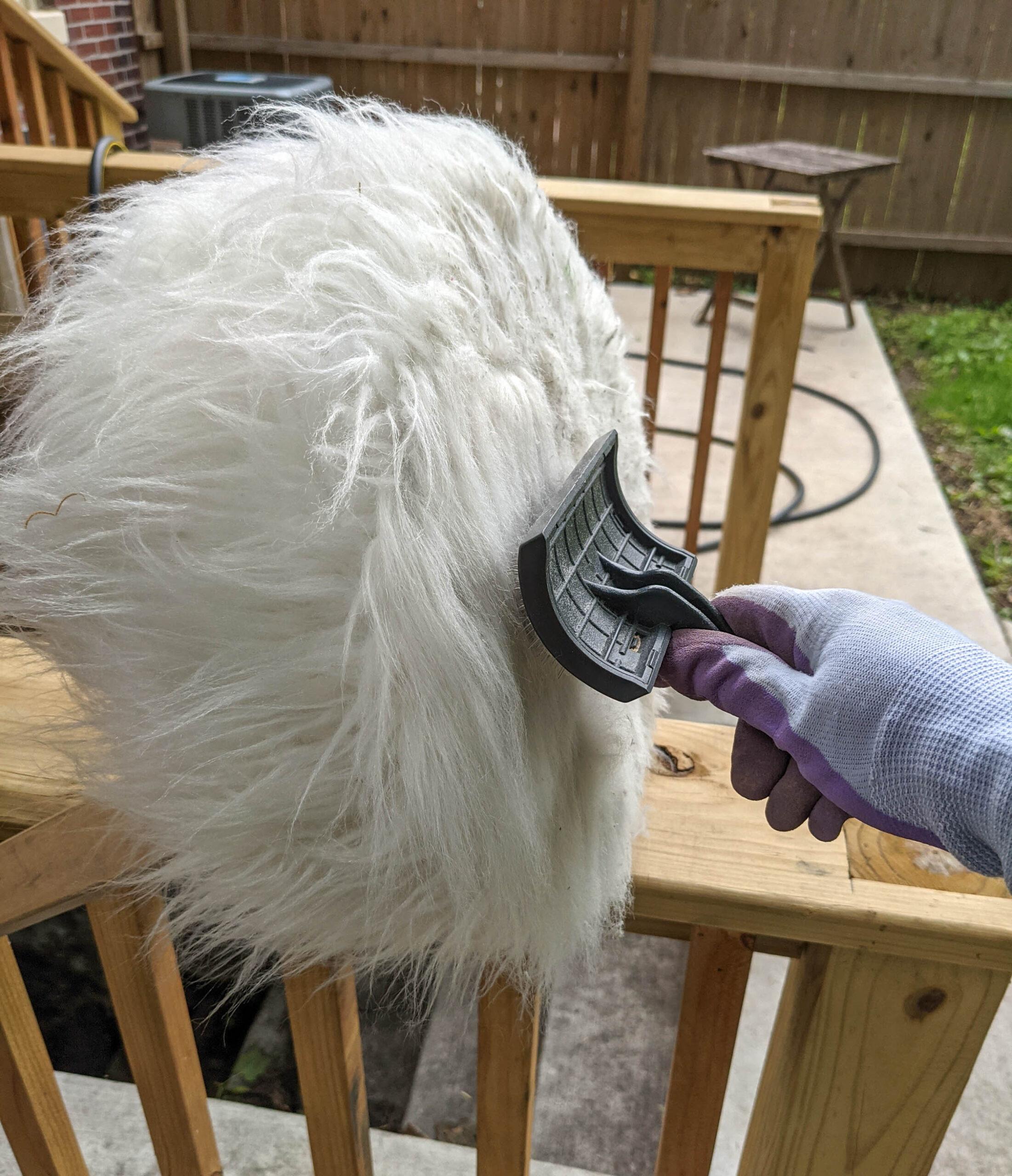 Combing the fibers removes loose fibers, dirt, and debris.