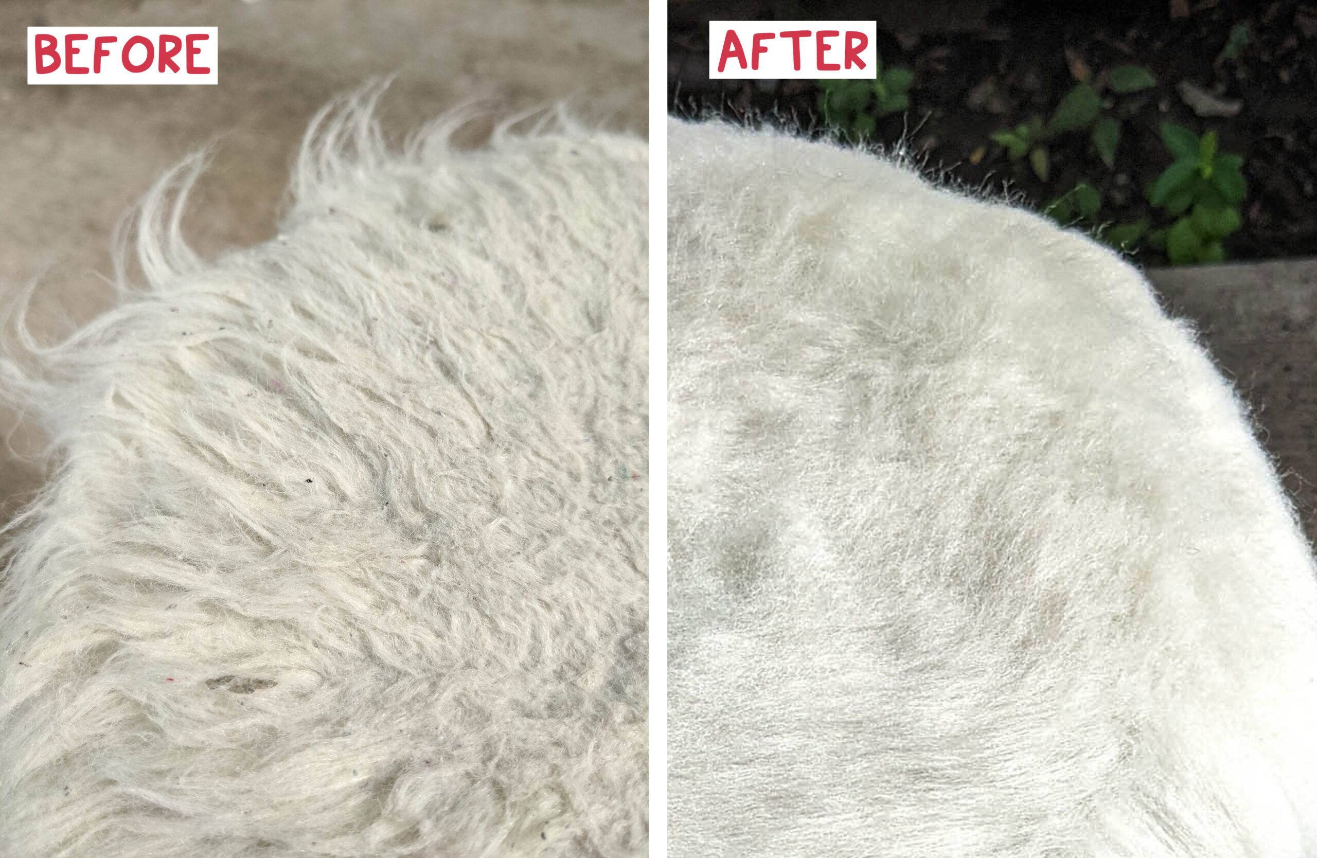 Synthetic fleece is easy to clean with the right tool, here is a before and after shot of two minutes of cleaning.