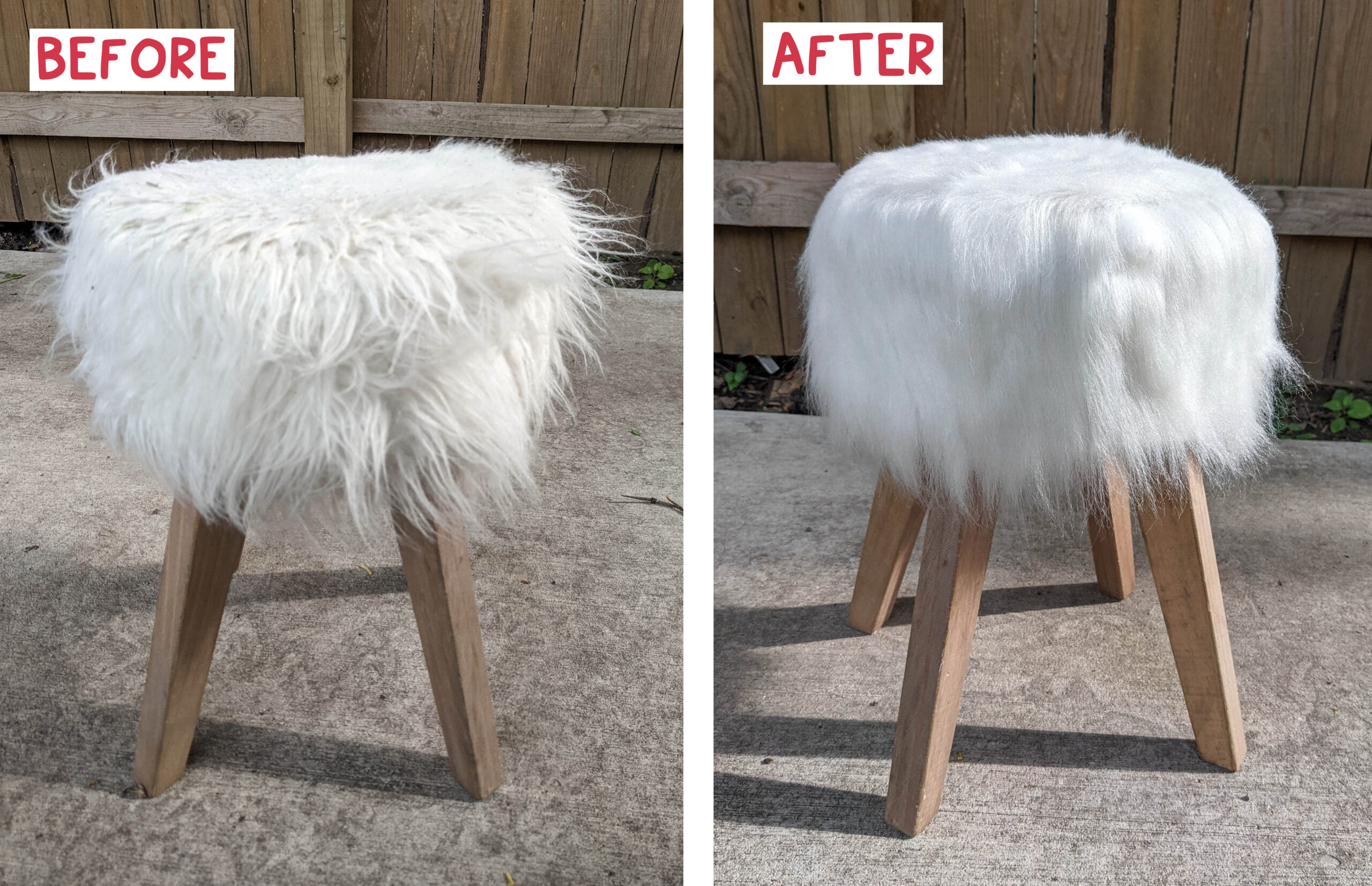 Before and after cleaning my fake fur footstool.