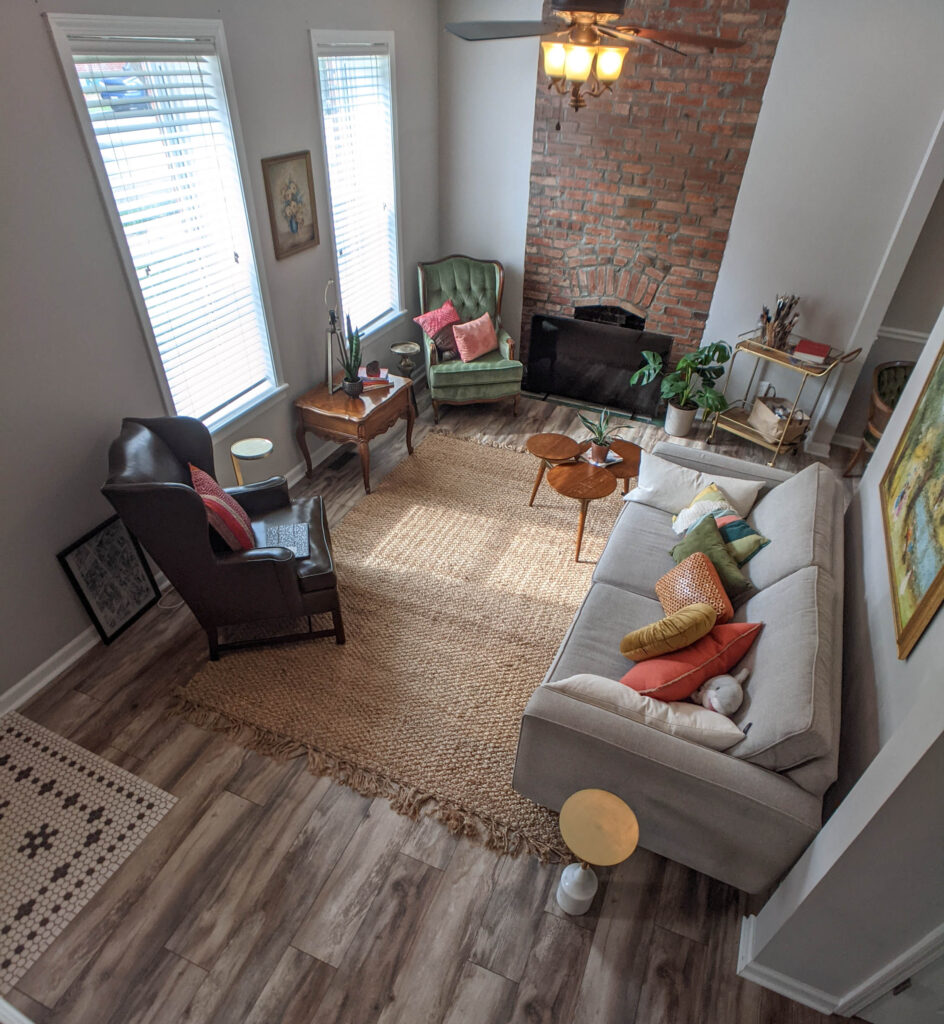 An overhead view of the cottage living room.