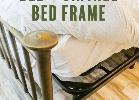 A side view showing a adjustable base bed being used with an antique bed frame.