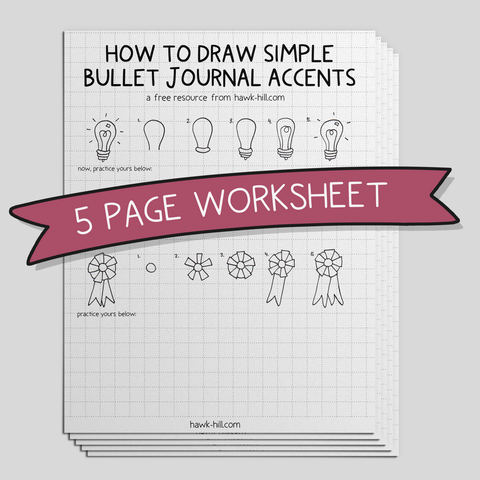 mockup of a set of worksheets on drawing bullet journal accents