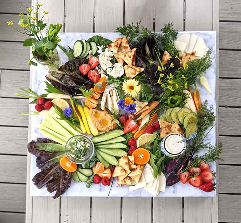 Abundance is the key to creating visually stunning grazing platters from your garden.