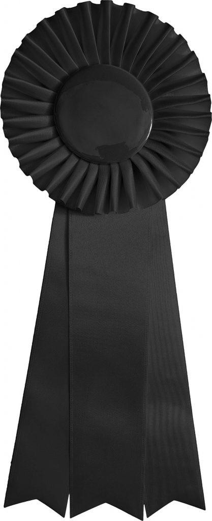 Solid black award ribbon