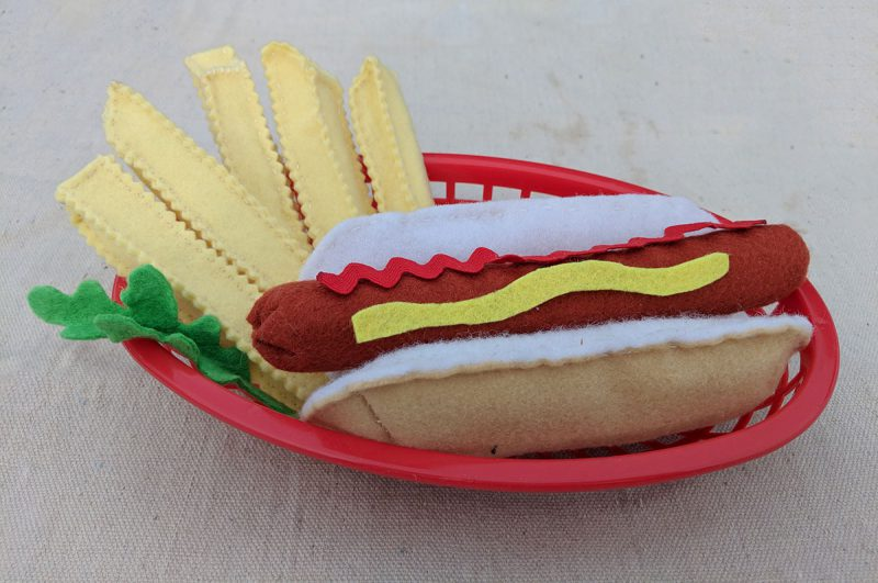 felt crinkle cut French fries pair well with a felt hotdog for pretend play
