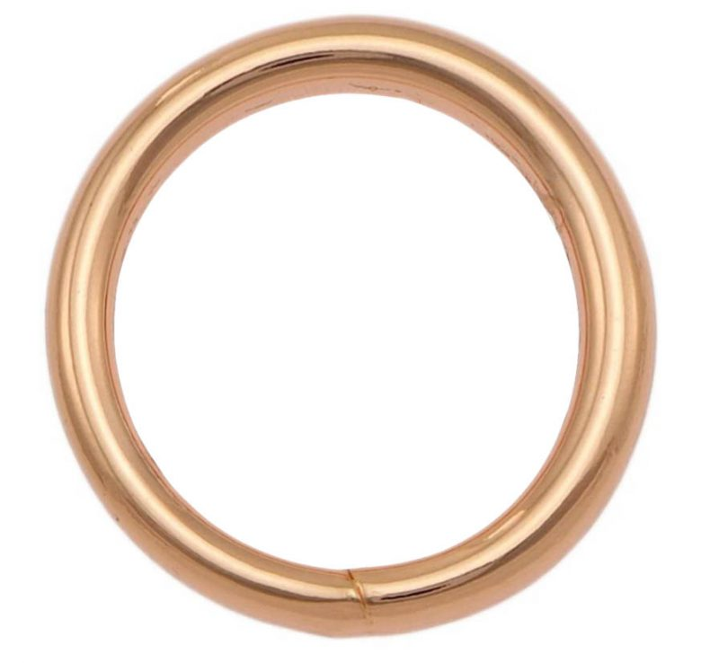 A rose gold o ring with welded connection.